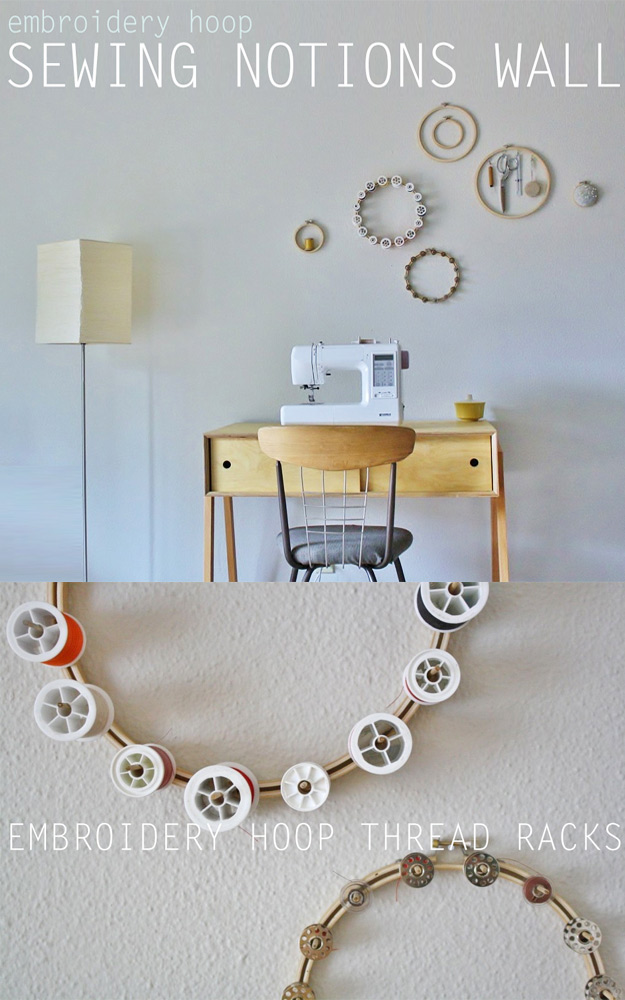 DIY Craft Room Ideas and Craft Room Organization Projects - Embroidery Hoop Thread Rack - Cool Ideas for Do It Yourself Craft Storage - fabric, paper, pens, creative tools, crafts supplies and sewing notions