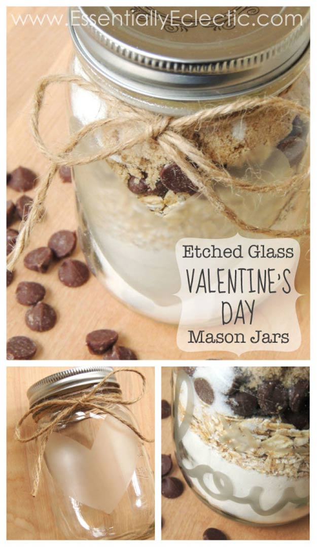 Mason Jar Valentine Gifts and Crafts | DIY Ideas for Valentines Day for Cute Gift Giving and Decor | Etched Mason Jar Valentine Decals | http://diyjoy.com/mason-jar-valentine-crafts