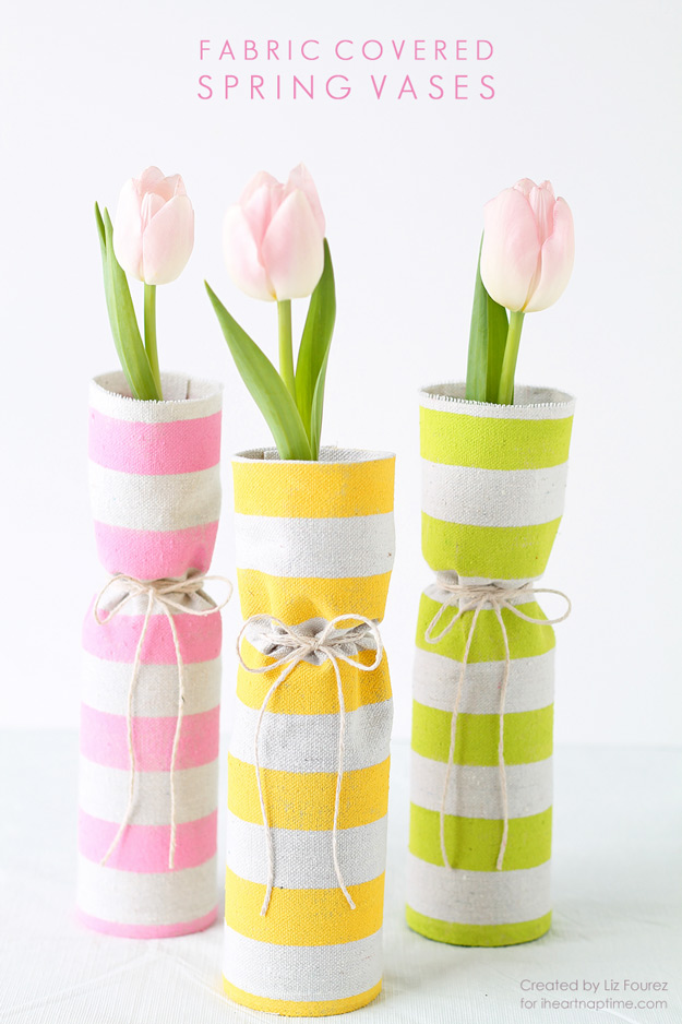 76 Crafts To Make and Sell - Easy DIY Ideas for Cheap Things To Sell on Etsy, Online and for Craft Fairs. Make Money with These Homemade Crafts for Teens, Kids, Christmas, Summer, Mother's Day Gifts. | Fabric Covered Spring Vases #crafts #diy
