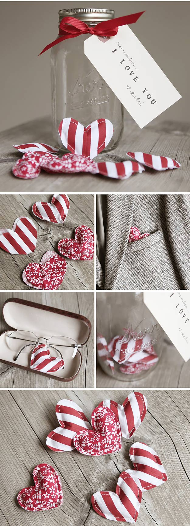 Mason Jar Valentine Gifts and Crafts | DIY Ideas for Valentines Day for Cute Gift Giving and Decor | Fabric Hearts in Mason Jar | http://diyjoy.com/mason-jar-valentine-crafts