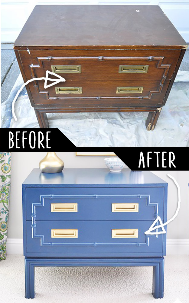 DIY Furniture Makeovers - Refurbished Furniture and Cool Painted Furniture Ideas for Thrift Store Furniture Makeover Projects | Coffee Tables, Dressers and Bedroom Decor, Kitchen | Faux Bamboo Chest Makeover #diy #furnituremakeover #diyfurniture