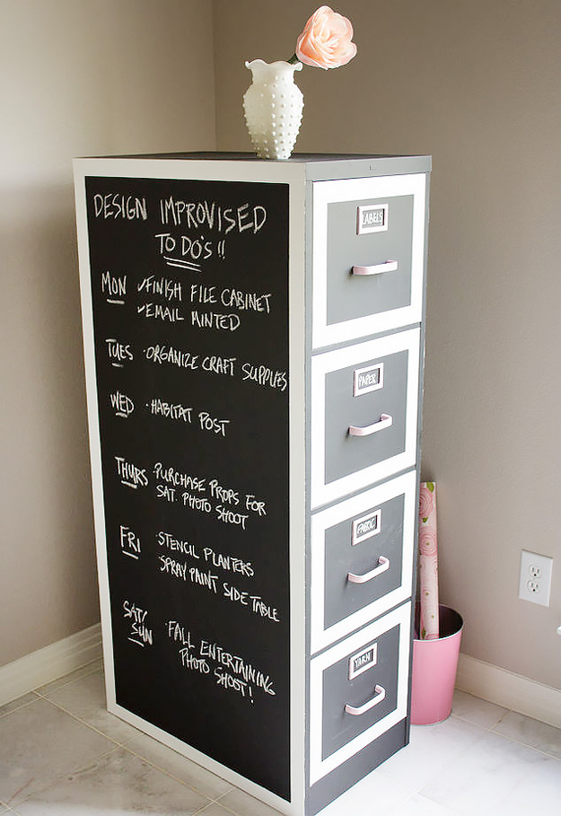 DIY Home Office Decor Ideas - DIY Craft Room Ideas and Craft Room Organization Projects - File Cabinet Makeover For Craft Lovers - Cool Ideas for Do It Yourself Craft Storage - fabric, paper, pens, creative tools, crafts supplies and sewing notions | http://diyjoy.com/craft-room-organization - Do It Yourself Desks, Tables, Wall Art, Chairs, Rugs, Seating and Desk Accessories for Your Home Office #office #diydecor #diy