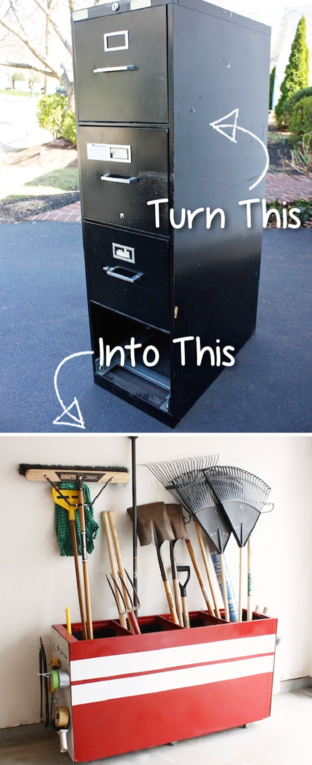 DIY Furniture Hacks   File Cabinet into a Garage Storage Favorite   Cool Ideas for Creative Do It Yourself Furniture Made From Things You Might Not Expect #diy