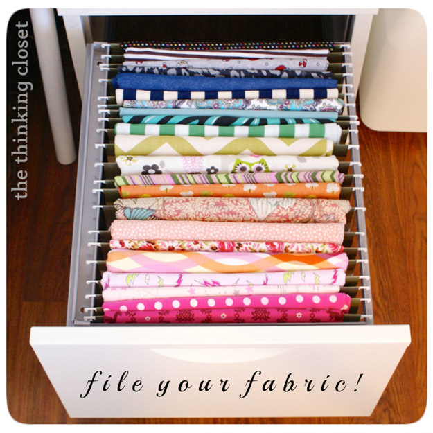 DIY Craft Room Ideas and Craft Room Organization Projects - Filing Fabric Organizer - Cool Ideas for Do It Yourself Craft Storage - fabric, paper, pens, creative tools, crafts supplies and sewing notions