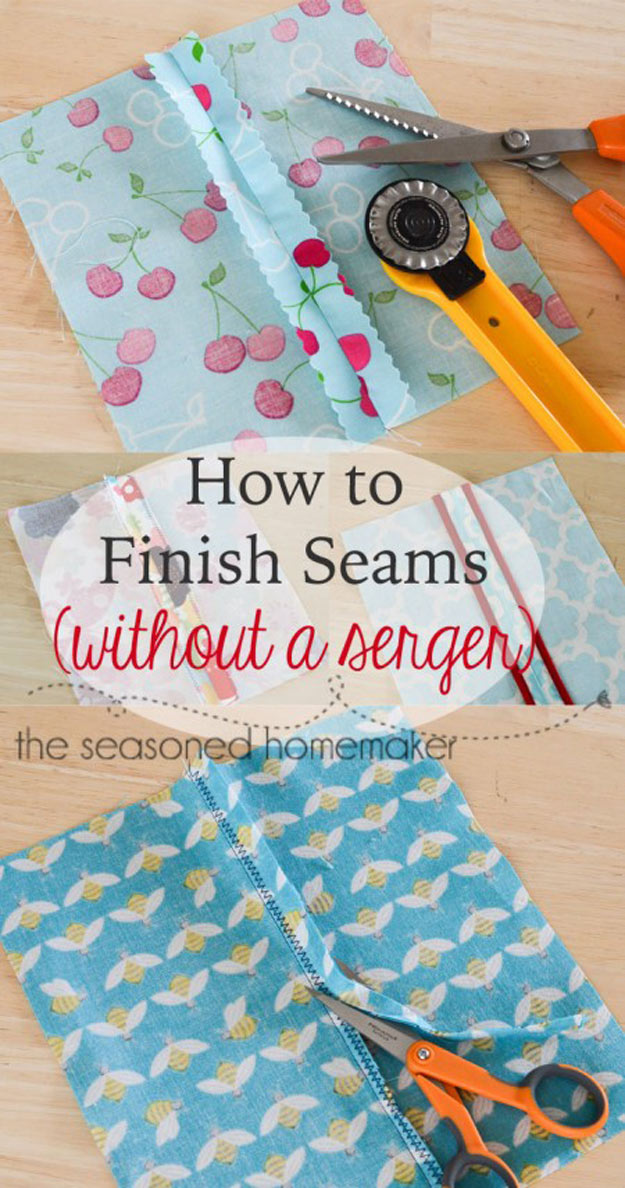 Sewing Hacks | Best Tips and Tricks for Sewing Patterns, Projects, Machines, Hand Sewn Items. Clever Ideas for Beginners and Even Experts | Finish Seams Without a Serger