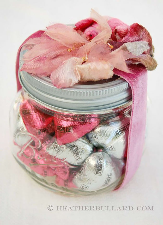 Mason Jar Valentine Gifts and Crafts | DIY Ideas for Valentines Day for Cute Gift Giving and Decor | Flower and Ribbon Mason Jar Valentine Idea | #valentines