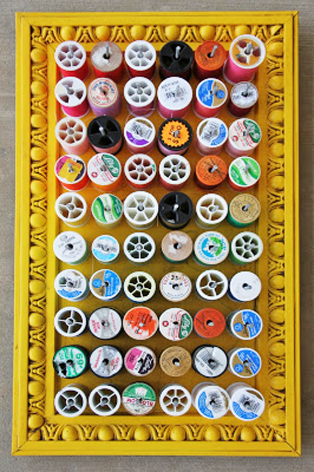 DIY Craft Room Ideas and Craft Room Organization Projects - Framed Thread Holder - Cool Ideas for Do It Yourself Craft Storage - fabric, paper, pens, creative tools, crafts supplies and sewing notions