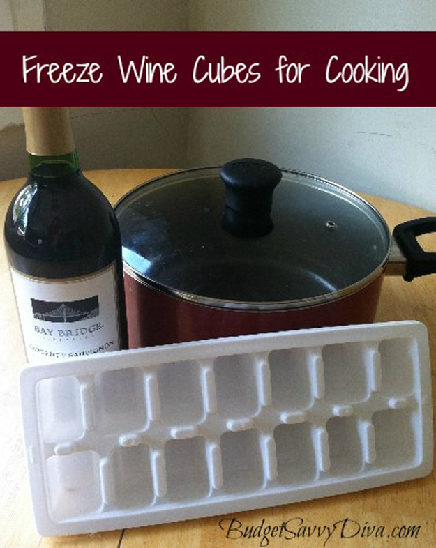 Coolest Cooking Hacks, Tips and Tricks for Easy Meal Prep, Recipe Shortcuts and Quick Ideas for Food | Freeze Wine Cubes For Cooking | http://cooking-tips-diy-kitchen-hacks