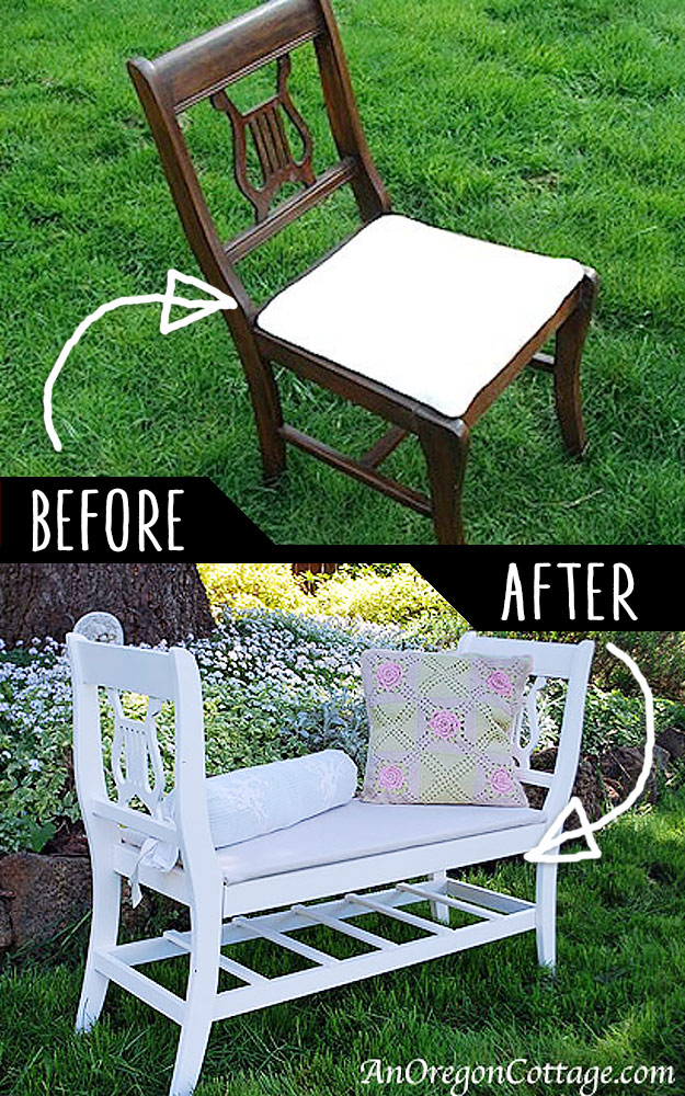 DIY Furniture Hacks | French Style Bench From Old Chairs | Cool Ideas for Creative Do It Yourself Furniture Made From Things You Might Not Expect - http://diyjoy.com/diy-furniture-hacks