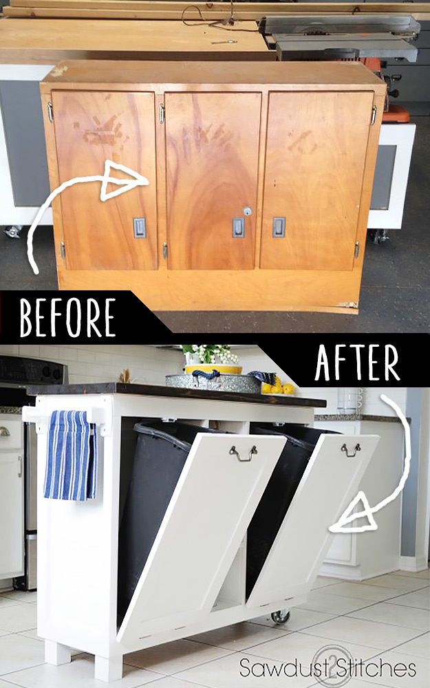 DIY Furniture Hacks   Garage Sale Cabinet into Kitchen Stand   Cool Ideas for Creative Do It Yourself Furniture Made From Things You Might Not Expect -