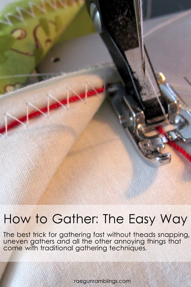 Sewing Hacks | Best Tips and Tricks for Sewing Patterns, Projects, Machines, Hand Sewn Items. Clever Ideas for Beginners and Even Experts  |  Gather The Easy Way  |  http://diyjoy.com/sewing-hacks