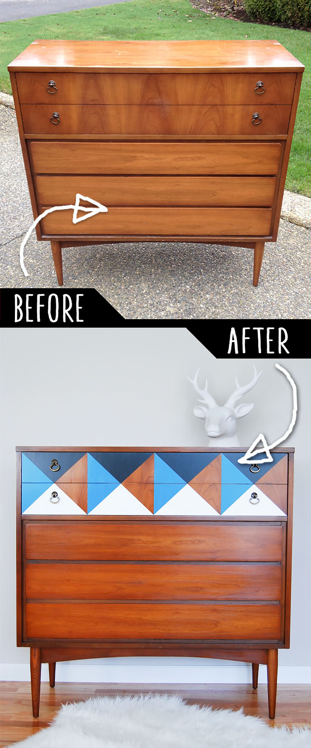 DIY Furniture Makeovers - Refurbished Furniture and Cool Painted Furniture Ideas for Thrift Store Furniture Makeover Projects | Coffee Tables, Dressers and Bedroom Decor, Kitchen | Geometric Mid Century Dresser #diy #furnituremakeover #diyfurniture