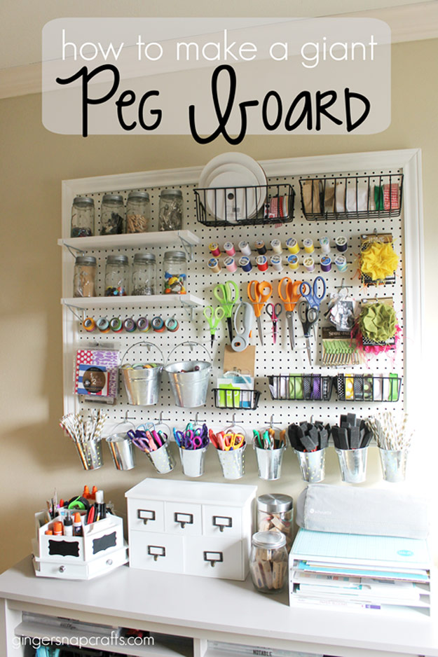 DIY Craft Room Ideas and Craft Room Organization Projects - Giant Peg Board - Cool Ideas for Do It Yourself Craft Storage - fabric, paper, pens, creative tools, crafts supplies and sewing notions