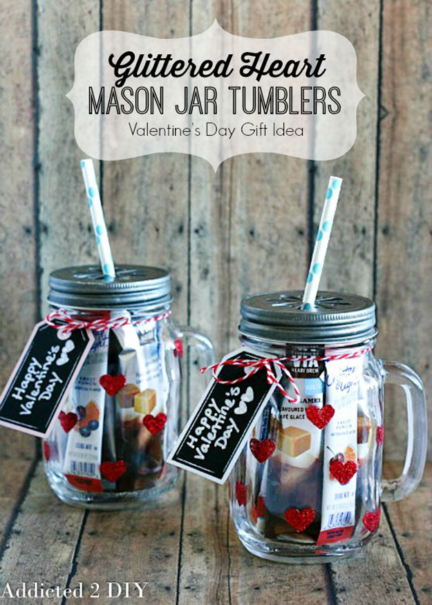Mason Jar Valentine Gifts and Crafts   DIY Ideas for Valentines Day for Cute Gift Giving and Decor   Glittered Heart Mason Jar Tumblers   #valentines