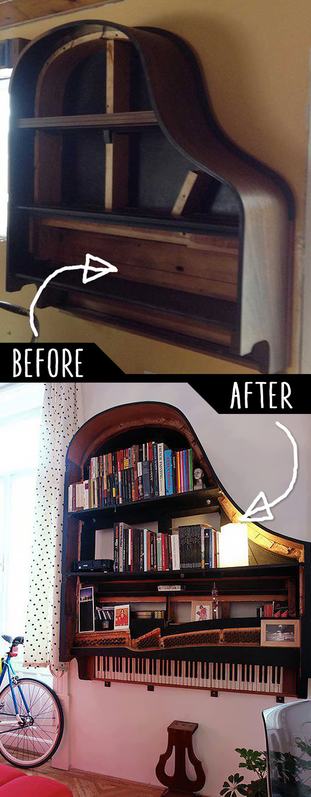 DIY Furniture Hacks   Grand Piano Bookshelf   Cool Ideas for Creative Do It Yourself Furniture Made From Things You Might Not Expect #diy