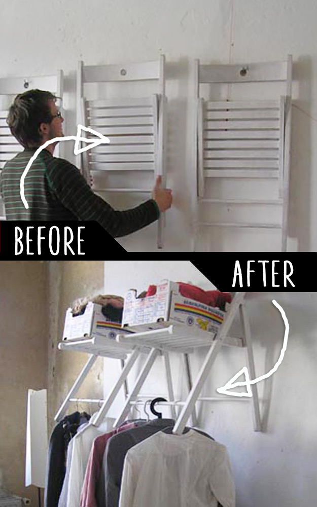 DIY Furniture Hacks   Hanging Chair Closet Organizer   Cool Ideas for Creative Do It Yourself Furniture Made From Things You Might Not Expect #diy