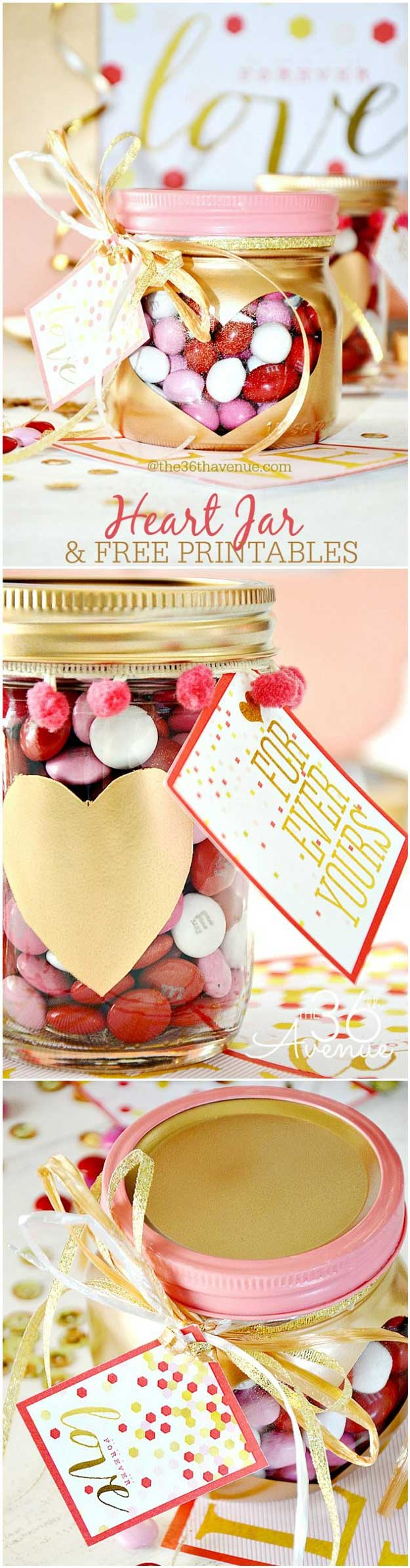 Mason Jar Valentine Gifts and Crafts | DIY Ideas for Valentines Day for Cute Gift Giving and Decor | Heart Jars and Free Printables | #valentines