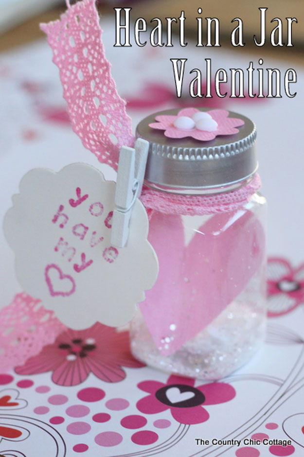 Mason Jar Valentine Gifts and Crafts   DIY Ideas for Valentines Day for Cute Gift Giving and Decor   Heart in a Jar Valentine   #valentines