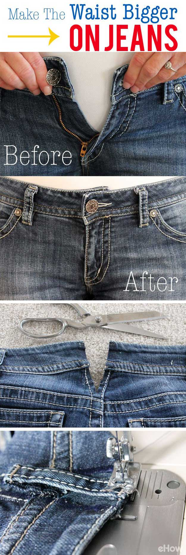 Sewing Hacks | Best Tips and Tricks for Sewing Patterns, Projects, Machines, Hand Sewn Items. Clever Ideas for Beginners and Even Experts  |  How To Make The Waist Bigger on Jeans  |  http://diyjoy.com/sewing-hacks