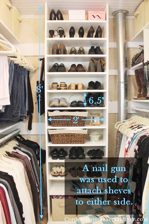 DIY Closet Organization Ideas for Messy Closets and Small Spaces. Organizing Hacks and Homemade Shelving And Storage Tips for Garage, Pantry, Bedroom., Clothes and Kitchen | How a Girl Built her Closet #organizing #closets #organizingideas