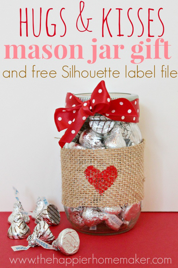 Best DIY Valentines Day Gifts - Hugs And Kisses Mason Jar Gift - Cute Mason Jar Valentines Day Gifts and Crafts for Him and Her | Boyfriend, Girlfriend, Mom and Dad, Husband or Wife, Friends - Easy DIY Ideas for Valentines Day for Homemade Gift Giving and Room Decor | Creative Home Decor and Craft Projects for Teens, Teenagers, Kids and Adults