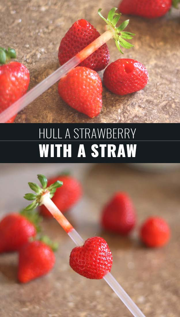 Coolest Cooking Hacks, Tips and Tricks for Easy Meal Prep, Recipe Shortcuts and Quick Ideas for Food | Hull a Strawberry with a Straw | http://cooking-tips-diy-kitchen-hacks