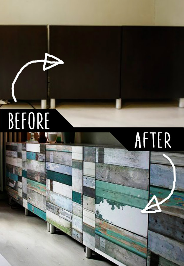 DIY Furniture Makeovers - Refurbished Furniture and Cool Painted Furniture Ideas for Thrift Store Furniture Makeover Projects | Coffee Tables, Dressers and Bedroom Decor, Kitchen | Cabinet Wallpaper Treatment #diy #furnituremakeover #diyfurniture