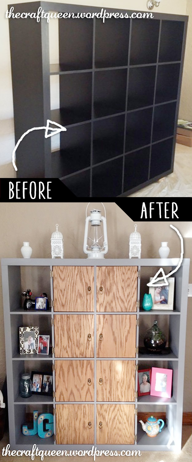 DIY Furniture Makeovers - Refurbished Furniture and Cool Painted Furniture Ideas for Thrift Store Furniture Makeover Projects | Coffee Tables, Dressers and Bedroom Decor, Kitchen | Ikea Expedit Hack Shelves Makeover #diy #furnituremakeover #diyfurniture