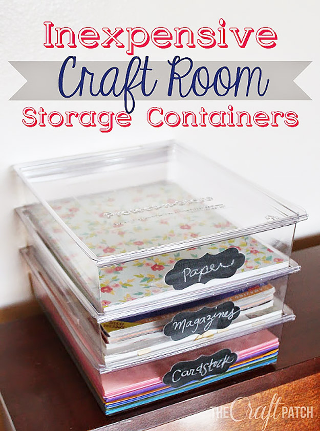 DIY Craft Room Ideas and Craft Room Organization Projects - Inexpensive Craft Room Storage Containers - Cool Ideas for Do It Yourself Craft Storage - fabric, paper, pens, creative tools, crafts supplies and sewing notions