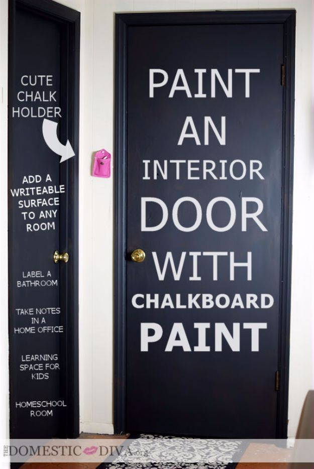 DIY Chalkboard Paint Ideas for Furniture Projects, Home Decor, Kitchen, Bedroom, Signs and Crafts for Teens. | Interior Door Chalkboard
