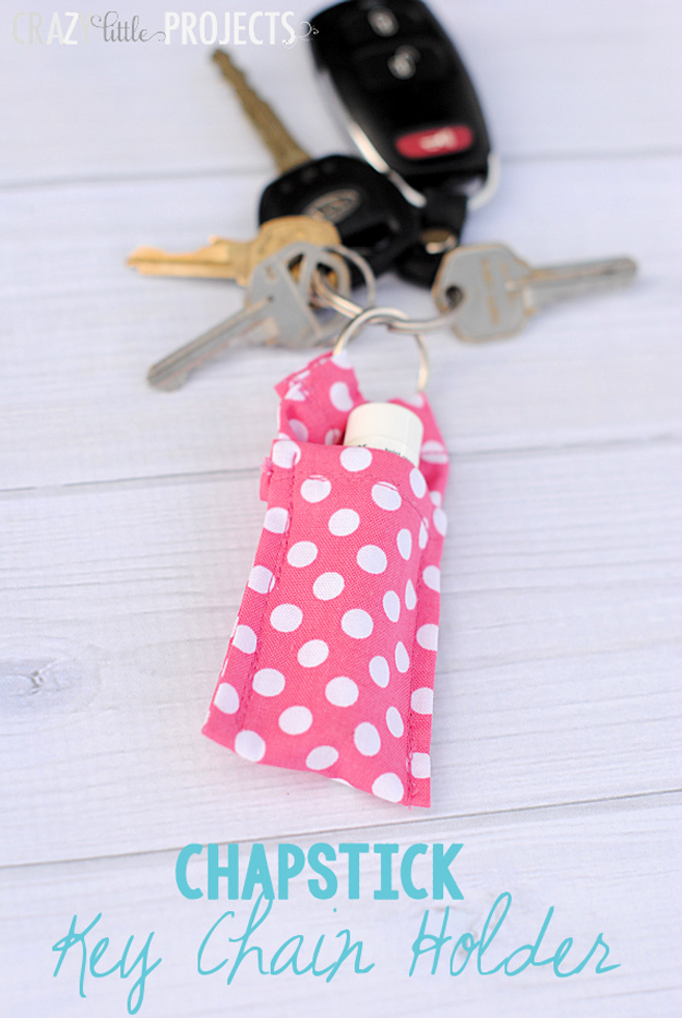 76 Crafts To Make and Sell - Easy DIY Ideas for Cheap Things To Sell on Etsy, Online and for Craft Fairs. Make Money with These Homemade Crafts for Teens, Kids, Christmas, Summer, Mother's Day Gifts.   Key Chain Chapstick Holder #crafts #diy