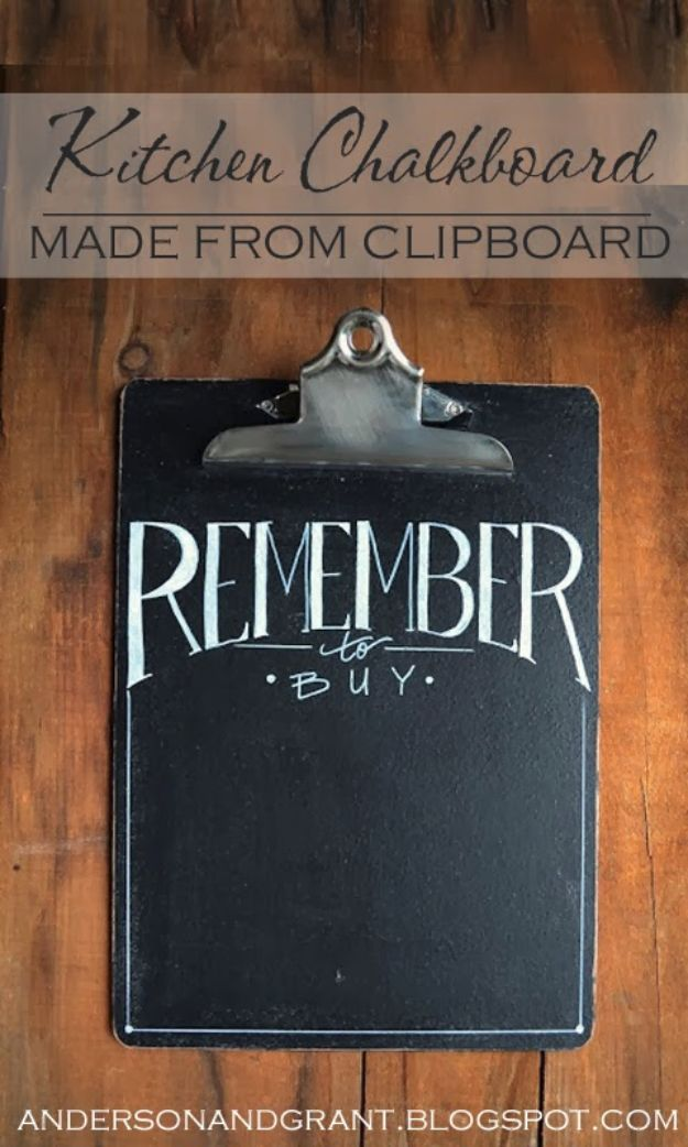 DIY Chalkboard Paint Ideas for Furniture Projects, Home Decor, Kitchen, Bedroom, Signs and Crafts for Teens. | Kitchen Chalkboard Clip Boards | http://diyjoy.com/diy-chalkboard-paint-ideas