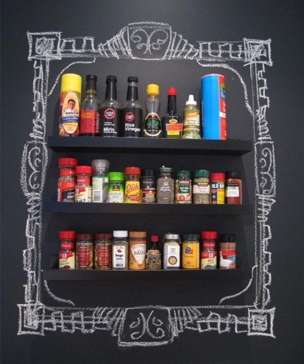 DIY Chalkboard Paint Ideas for Furniture Projects, Home Decor, Kitchen, Bedroom, Signs and Crafts for Teens. | Kitchen Spice Storage Framed In Chalk | http://diyjoy.com/diy-chalkboard-paint-ideas