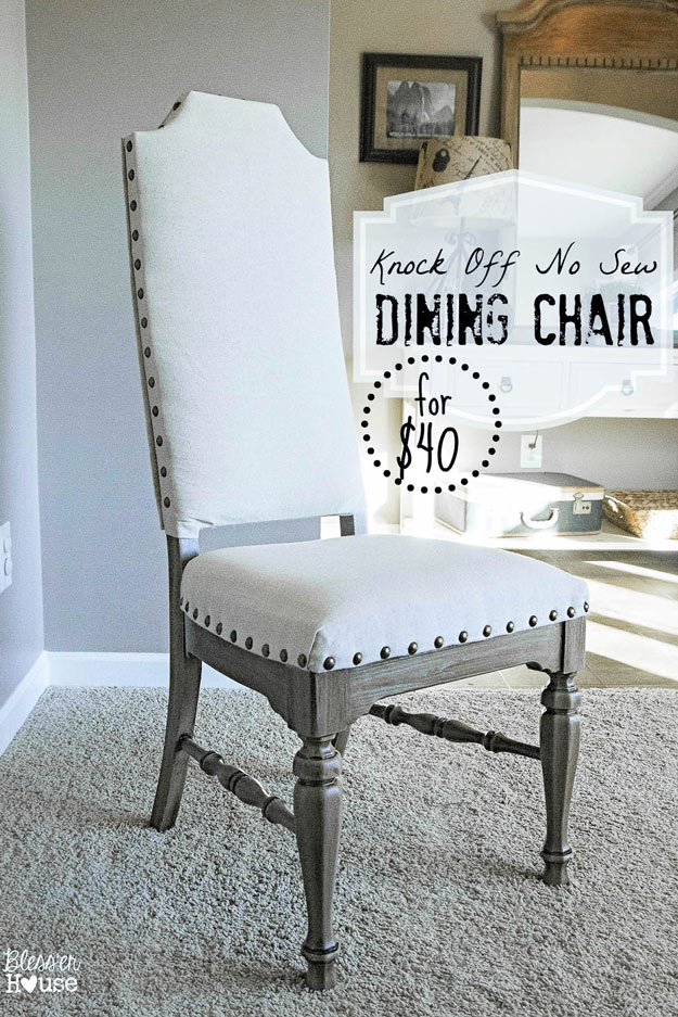 DIY Furniture Store KnockOffs - Do It Yourself Furniture Projects Inspired by Pottery Barn, Restoration Hardware, West Elm. Tutorials and Step by Step Instructions   Knock Off No Sew Dining Chairs #diyfurniture #diyhomedecor #copycats