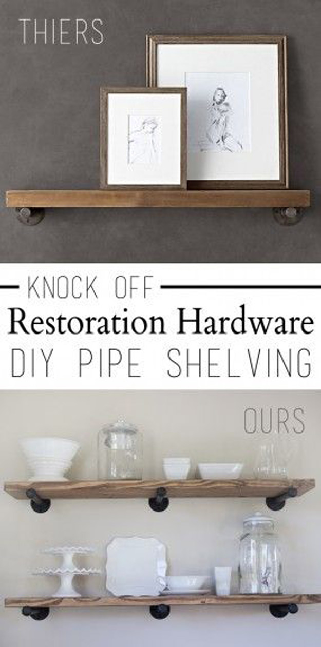 DIY Furniture Store KnockOffs - Do It Yourself Furniture Projects Inspired by Pottery Barn, Restoration Hardware, West Elm. Tutorials and Step by Step Instructions   Knock Off Restoration Hardware Pipe Shelving #diyfurniture #diyhomedecor #copycats