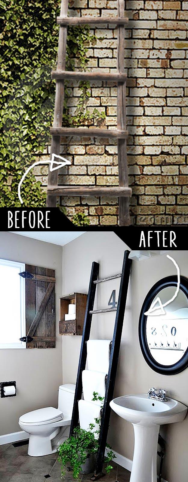 DIY Furniture Hacks   Ladder Towel Rack   Cool Ideas for Creative Do It Yourself Furniture   Cheap Home Decor Ideas for Bedroom, Bathroom, Living Room, Kitchen #diy