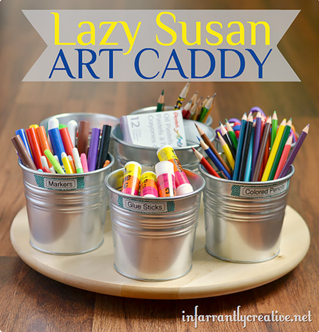 DIY Craft Room Ideas and Craft Room Organization Projects - Lazy Susan Art Caddy - Cool Ideas for Do It Yourself Craft Storage - fabric, paper, pens, creative tools, crafts supplies and sewing notions