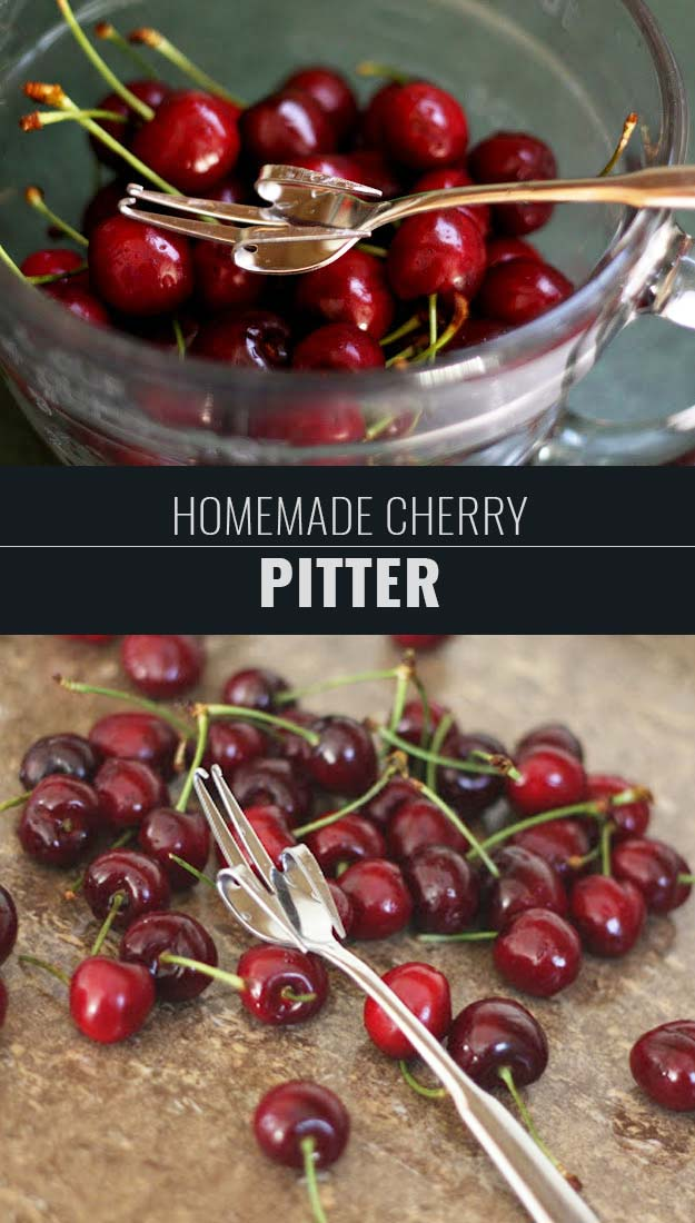 Coolest Cooking Hacks, Tips and Tricks for Easy Meal Prep, Recipe Shortcuts and Quick Ideas for Food |  Learn How To Make a Homemade Cherry Pitter  | http://cooking-tips-diy-kitchen-hacks