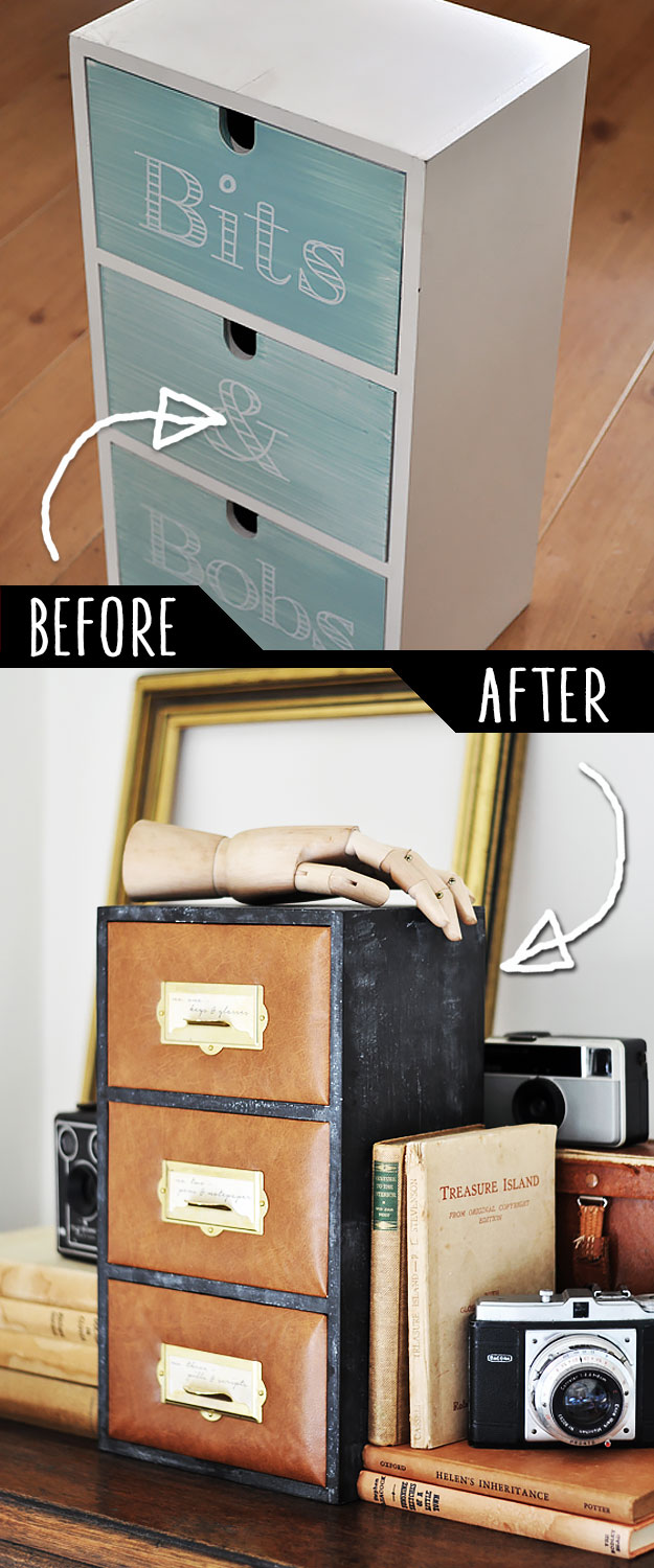 DIY Furniture Makeovers - Refurbished Furniture and Cool Painted Furniture Ideas for Thrift Store Furniture Makeover Projects | Coffee Tables, Dressers and Bedroom Decor, Kitchen | Leather Upholstered Mini Drawer Set Makover #diy #furnituremakeover #diyfurniture