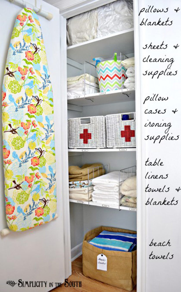 DIY Closet Organization Ideas for Messy Closets and Small Spaces. Organizing Hacks and Homemade Shelving And Storage Tips for Garage, Pantry, Bedroom., Clothes and Kitchen | Linen Closet Organization #organizing #closets #organizingideas