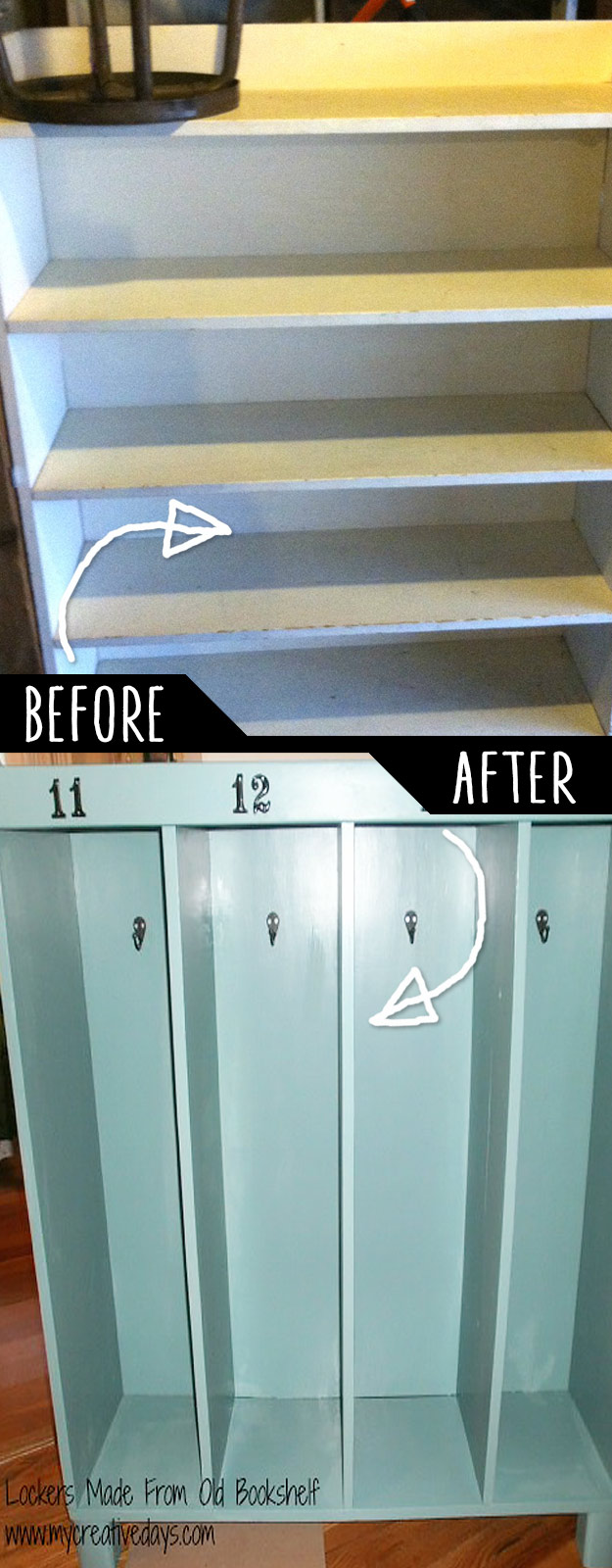 DIY Furniture Hacks   Lockers Made From Old Bookshelf   Cool Ideas for Creative Do It Yourself Furniture Made From Things You Might Not Expect #diy