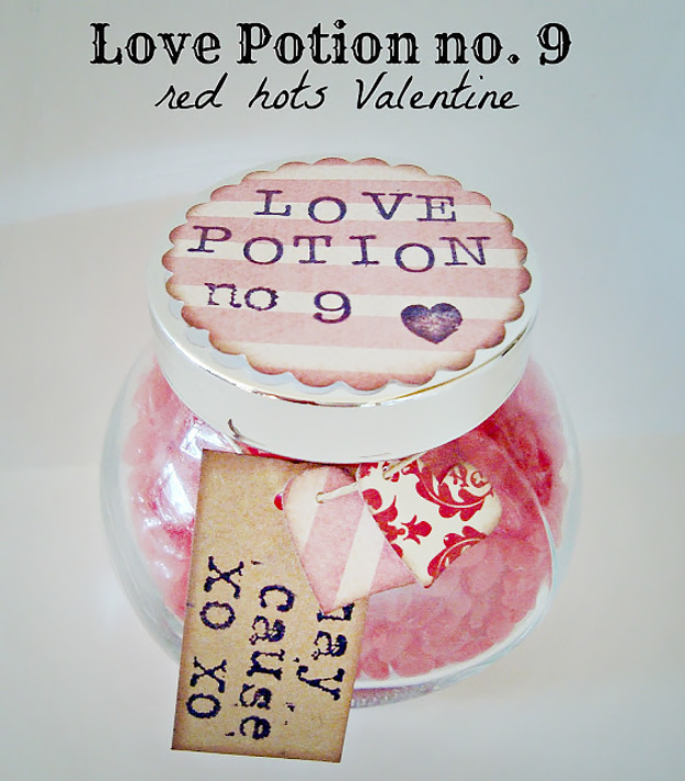 Mason Jar Valentine Gifts and Crafts   DIY Ideas for Valentines Day for Cute Gift Giving and Decor   Love Potion Number 9   #valentines
