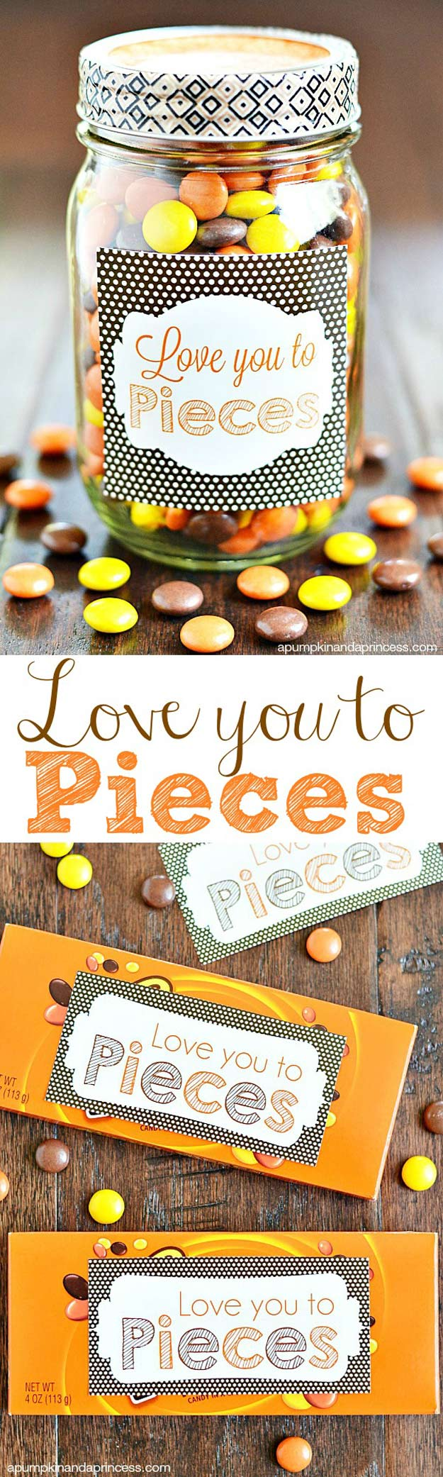 Mason Jar Valentine Gifts and Crafts   DIY Ideas for Valentines Day for Cute Gift Giving and Decor   Love you to Pieces Sweets Jar   #valentines