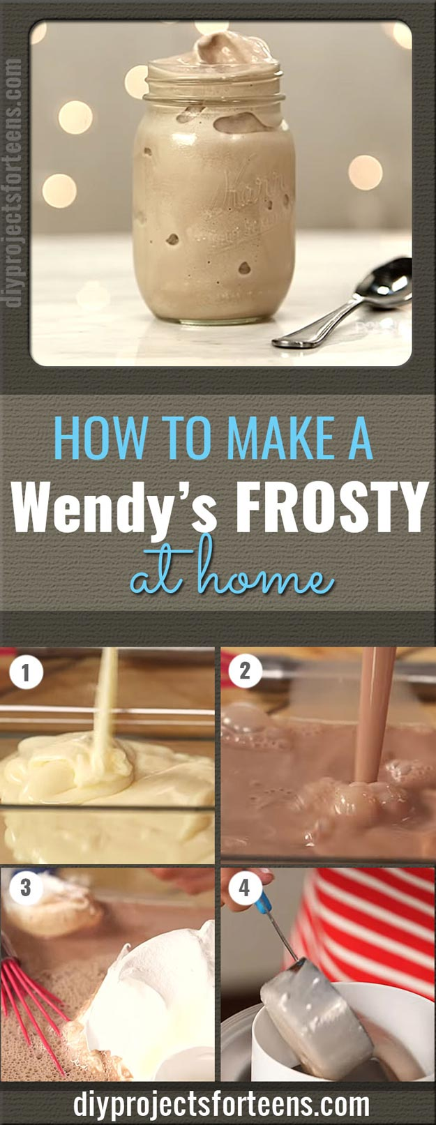Copycat Recipes From Top Restaurants. Best Recipe Knockoffs from Chipotle, Starbucks, Olive Garden, Cinabbon, Cracker Barrel, Taco Bell, Cheesecake Factory, KFC, Mc Donalds, Red Lobster, Panda Express   Make A Wendy's Frosty At Home With Only 3 Ingredients   http://diyjoy.com/copycat-recipes