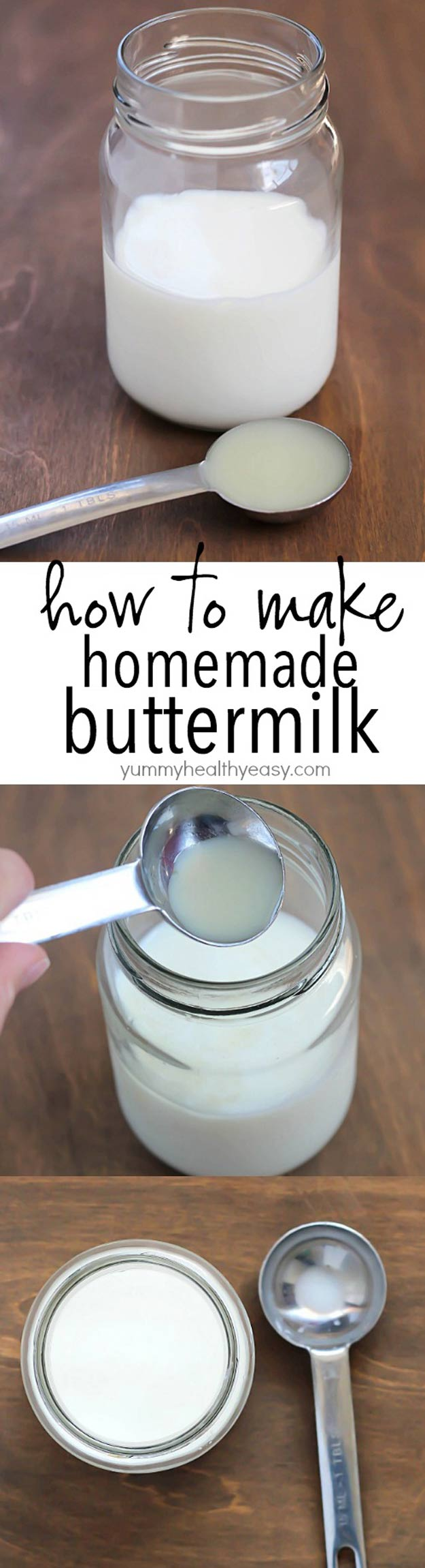 Coolest Cooking Hacks, Tips and Tricks for Easy Meal Prep, Recipe Shortcuts and Quick Ideas for Food | Make Easy Homemade Buttermilk | http://cooking-tips-diy-kitchen-hacks