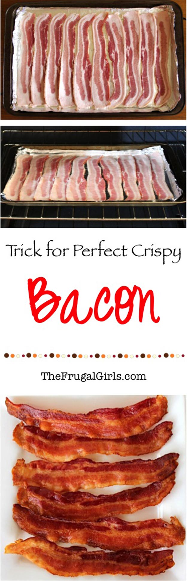 Coolest Cooking Hacks, Tips and Tricks for Easy Meal Prep, Recipe Shortcuts and Quick Ideas for Food | Make Perfect Crispy Bacon in the Oven | http://cooking-tips-diy-kitchen-hacks