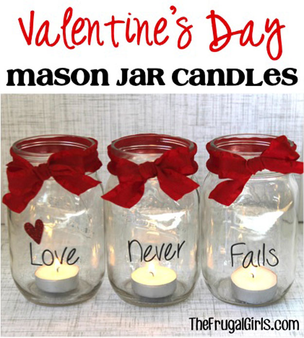 Mason Jar Valentine Gifts and Crafts | DIY Ideas for Valentines Day for Cute Gift Giving and Decor | Mason Jar Candles with a lovely Message | http://diyjoy.com/mason-jar-valentine-crafts
