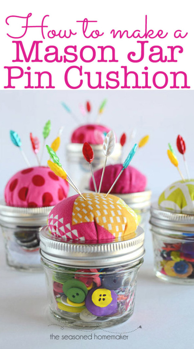 DIY Craft Room Ideas and Craft Room Organization Projects - Mason Jar Pin Cushion - Cool Ideas for Do It Yourself Craft Storage - fabric, paper, pens, creative tools, crafts supplies and sewing notions