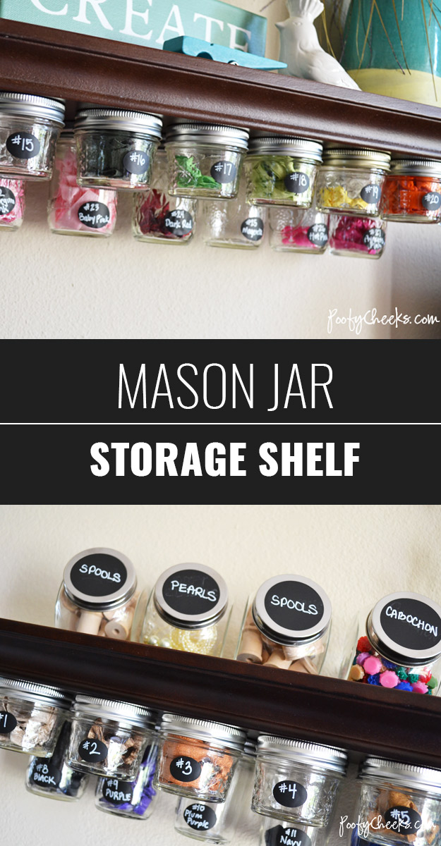 DIY Craft Room Ideas and Craft Room Organization Projects - Mason Jar Storage Shelf - Cool Ideas for Do It Yourself Craft Storage - fabric, paper, pens, creative tools, crafts supplies and sewing notions