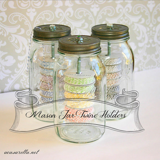 DIY Craft Room Ideas and Craft Room Organization Projects - Mason Jar Twine Holders - Cool Ideas for Do It Yourself Craft Storage - fabric, paper, pens, creative tools, crafts supplies and sewing notions